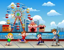 Cartoon of Children having fun on the lakeside with amusement park background. Illustration of Cartoon of Children having fun on the lakeside with amusement park vector illustration