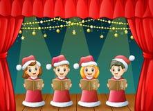 Cartoon children in red santa costume singing christmas carols on the stage. Illustration of Cartoon children in red santa costume singing christmas carols on Stock Images