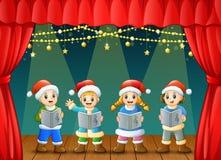 Cartoon children singing christmas carols on the stage. Illustration of Cartoon children singing christmas carols on the stage Royalty Free Stock Photos
