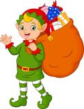 Cartoon Christmas elf carrying a sack of gifts. Illustration of Cartoon Christmas elf carrying a sack of gifts royalty free illustration