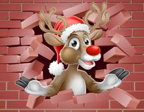 Santa Hat Reindeer Cartoon Breaking Brick Wall Stock Photo