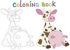 Illustration cartoon cow very pleased Stock Photos