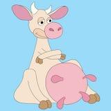 Illustration cartoon cow very pleased Stock Image