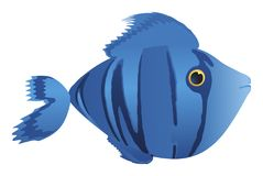 Blue comic fish. Illustration cartoon of a cute blue fish Stock Images