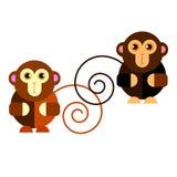 Illustration cartoon cute monkey character happy wild mam Stock Photo