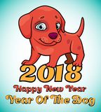 Illustration with cartoon of cute red puppy with text - Happy ne Stock Photos