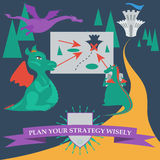 Illustration with cartoon dragons planning to capture the royal Royalty Free Stock Image