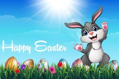 Cartoon Easter bunny with colored decorated eggs in the grass field stock illustration