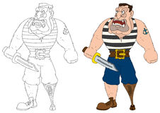 Illustration cartoon evil pirate with a sword Royalty Free Stock Image