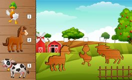 Cartoon farm animals collection set. Find the correct shadow on board. Educational game for children royalty free illustration