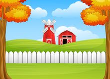 Cartoon farm landscape with windmill and barn Stock Image