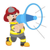 An illustration of cartoon fireman Stock Photography