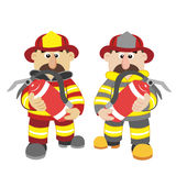 An illustration of cartoon fireman. Vector Stock Images