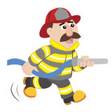 An illustration of cartoon fireman. Vector Royalty Free Stock Image