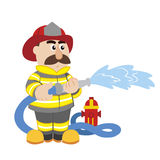 An illustration of cartoon fireman. Vector Royalty Free Stock Photos