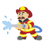 An illustration of cartoon fireman. Vector Stock Image