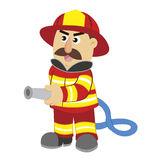 An illustration of cartoon fireman Stock Images