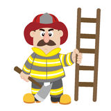 An illustration of cartoon fireman Stock Photo