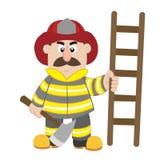 An illustration of cartoon fireman Stock Photo