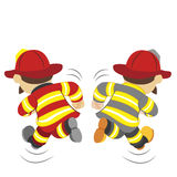 Illustration of cartoon fireman ,vector Stock Image