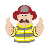 Illustration of cartoon fireman ,vector Stock Photo