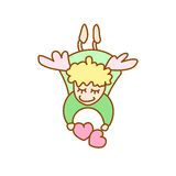 Illustration of cartoon flying angel with hearts Stock Image