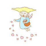 Illustration of cartoon flying girl with hearts. Illustration of little cartoon flying girl with hearts Royalty Free Stock Photography