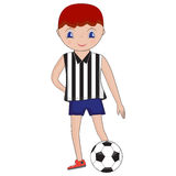 Illustration of cartoon football (soccer) player. Boy with socce. R ball. Vector illustration Stock Photos