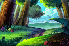 Illustration: Cartoon Forest. Royalty Free Stock Photo