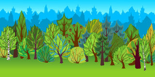 The illustration of cartoon forest. Stock Photos