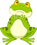 Cartoon frog hoping for rain. Illustration of Cartoon frog hoping for rain Royalty Free Stock Photo