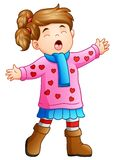 Cartoon funny girl in winter clothes singing Stock Photo