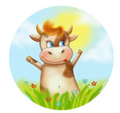 Illustration cartoon funny Happy cow Stock Photography