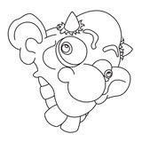 Illustration of a cartoon funny imp. Linework Royalty Free Stock Photography
