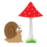 Illustration of a cartoon funny snail Royalty Free Stock Image