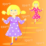 Illustration of a cartoon girl with skipping rope Stock Photo