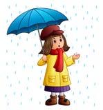 Cartoon girl with umbrella standing under the raindrops. Illustration of Cartoon girl with umbrella standing under the raindrops Stock Photos