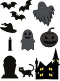 Cartoon halloween ghost set stock illustration