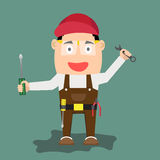 Illustration of cartoon handyman with wrench and tools. Stock Photos