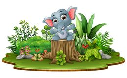Cartoon happy baby elephant sitting on tree stump with green plants. Illustration Cartoon happy baby elephant sitting on tree stump with green plants vector illustration