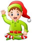 Cartoon happy Christmas elf sitting. Illustration of Cartoon happy Christmas elf sitting Royalty Free Stock Photos
