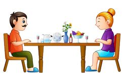 Cartoon happy father and mother eating on dining table. Illustration of Cartoon happy father and mother eating on dining table stock illustration