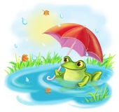 Illustration Cartoon a happy green frog with an umbrella Stock Photo