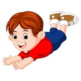 Cartoon happy kids pose flying. Illustration of cartoon happy kids pose flying Stock Image