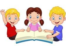 Cartoon happy kids reading a book royalty free illustration