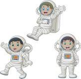 Cartoon happy kids wearing astronaut costumes. Illustration of Cartoon happy kids wearing astronaut costumes stock illustration