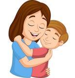 Cartoon happy mother hugging her son. Illustration of Cartoon happy mother hugging her son vector illustration