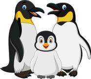 Cartoon happy penguin family isolated on white background Stock Photo