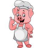 Cartoon happy pig chef giving a thumb up stock illustration