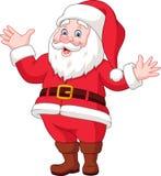 Cartoon happy santa claus waving vector illustration